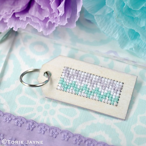Cross stitch keyring