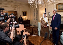 U.S. Secretary of State John Kerry and Saudi Foreign Minister Adel al-Jubeir address reporters before their meeting at the U.S. Department of State in Washington, D.C., on September 2, 2015. [State Department photo/ Public Domain]