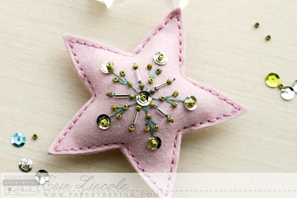 Beaded Holiday Star Snowflake Motif on Stitched Star