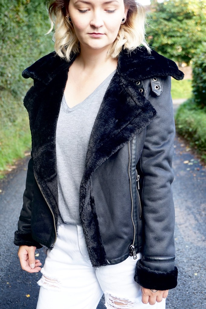 black sheepskin jacket katelouiseblog shores clothing