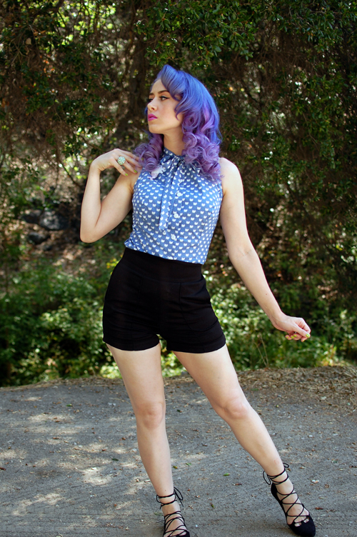 Heart of Haute Ella Top in Blue Kitty Faces Laura Byrnes Black Sateen Shorts