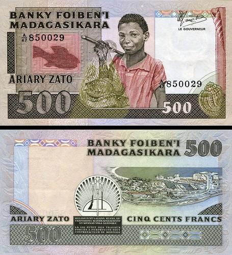 500 Frankov = 100 Ariary Madagaskar 1983-87