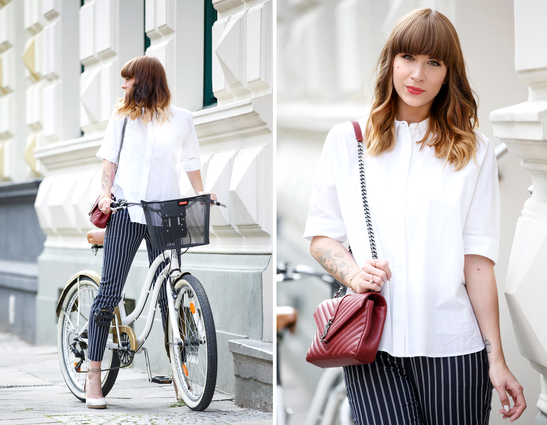 bike bicycle reserved georgia may jagger maritime ysl monogram bag red blue white outfit ootd look lookbook brunette bangs french parisienne parisian paris düsseldorf cute girly styling fashionblogger ricarda schernus cats & dogs blog 6