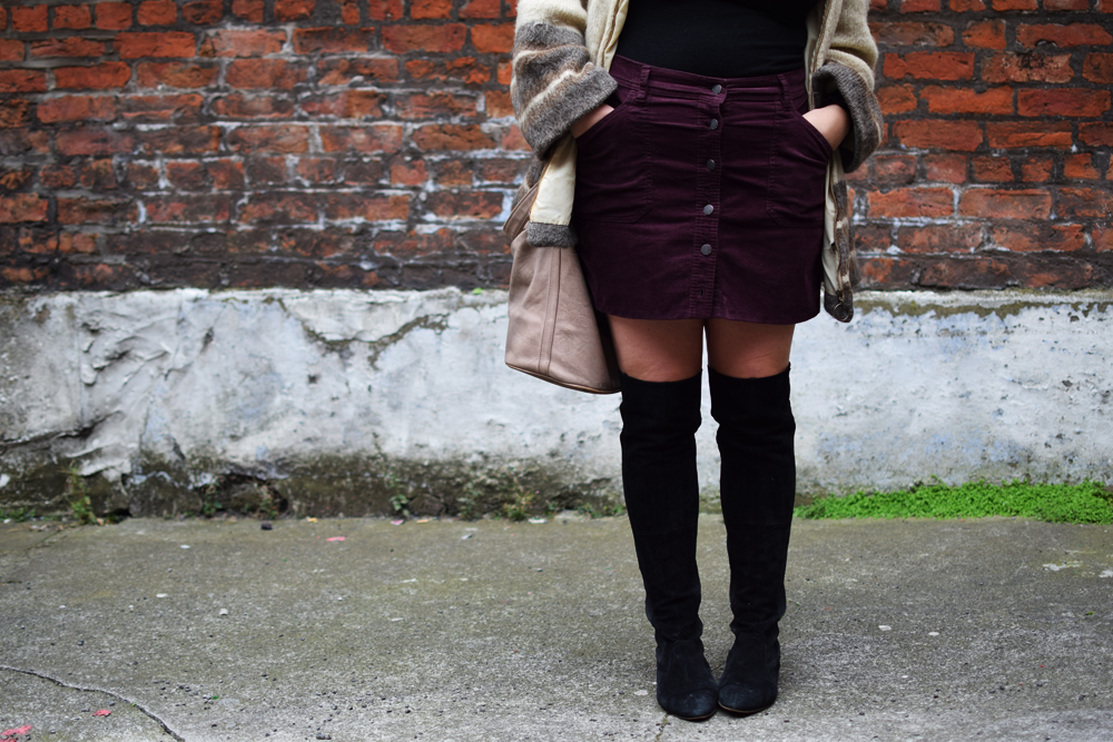 over the knee suede boots and cord mini skirt