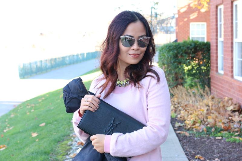 rhinestone-sunglasses-pink-dress-ysl-clutch-2