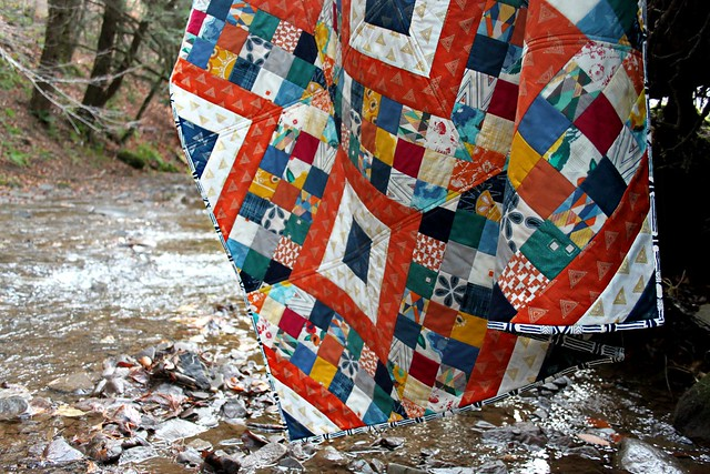 Criss Cross Diamond Quilt bound with Wild & Free