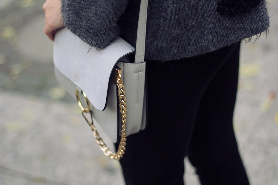 outfit detail chloe faye dupe lookalike gold grey bag back