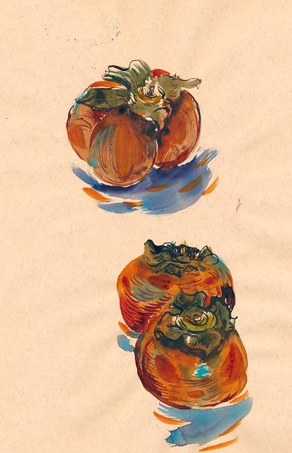 Sketchbook #93: Persimmons on My Table