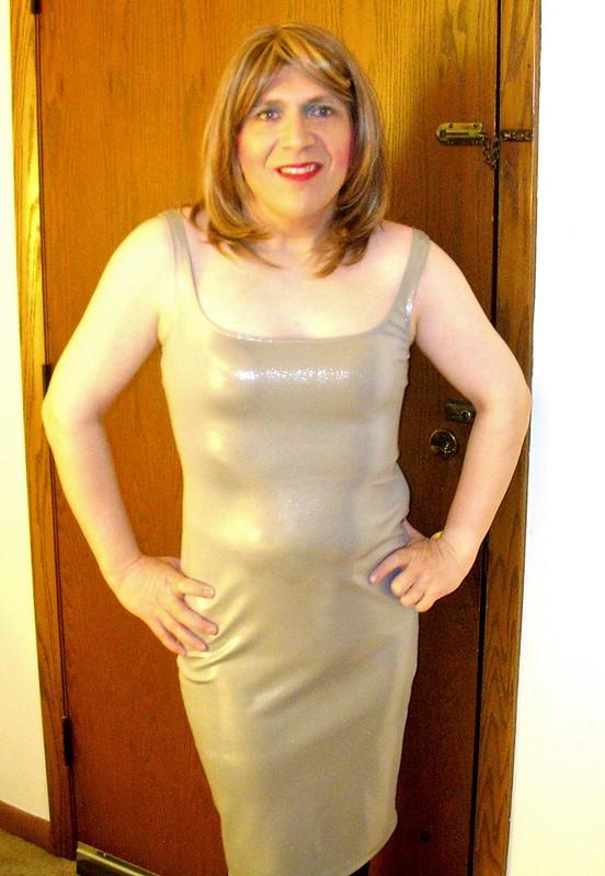 Silver foil tank dress