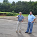 Rep. Dave Rutigliano (Trumbull) viewed the new site of the Tashua Elementary School playground and Basketball Court, Aug. 2015.
