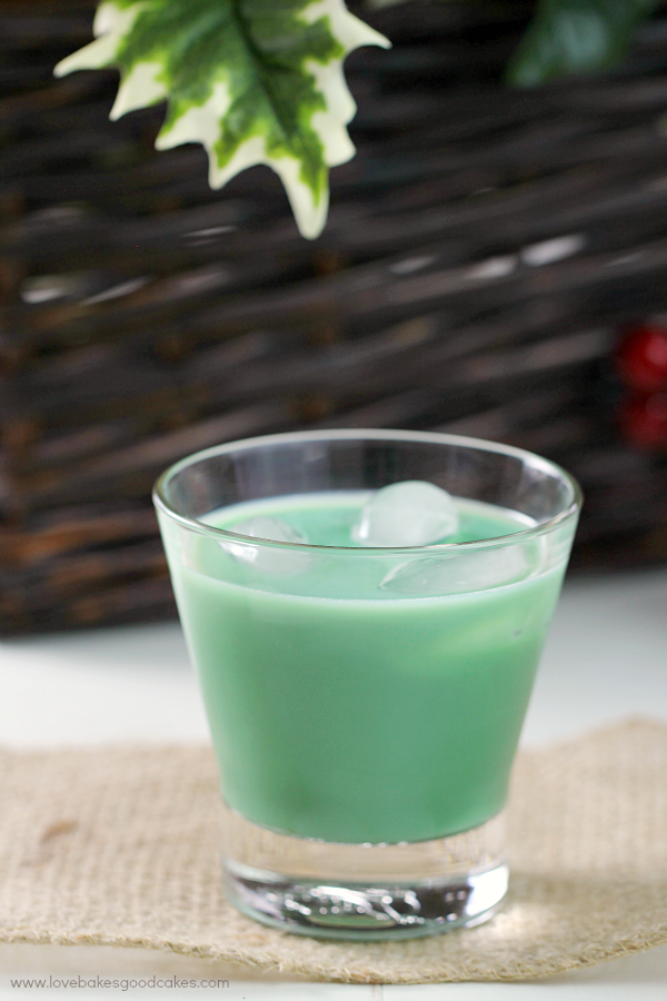 Naughty Girl Scout Cocktail in a glass with ice.