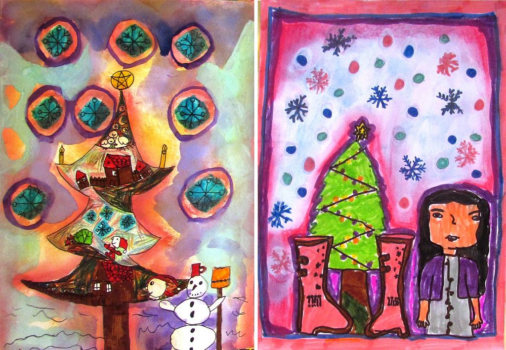 Igazgyöngy alapítványos gyerek karácsonyi rajzai
