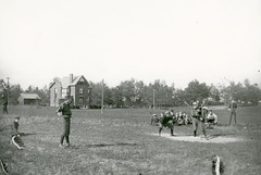 Smith, William, house, Deforest Rd., north side, between Kennedy Ave. & Runnymede Rd.; looking north-east, showing baseball match on vacant land, south side Deforest Rd.