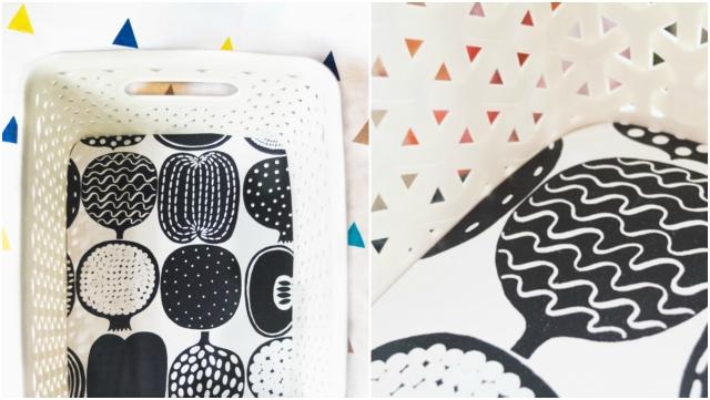 marimekko wallpaper lined baskets
