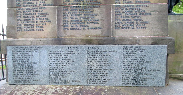 Dumbarton War Memorial Names