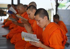 Teenagers live as a novice monk in Thailand