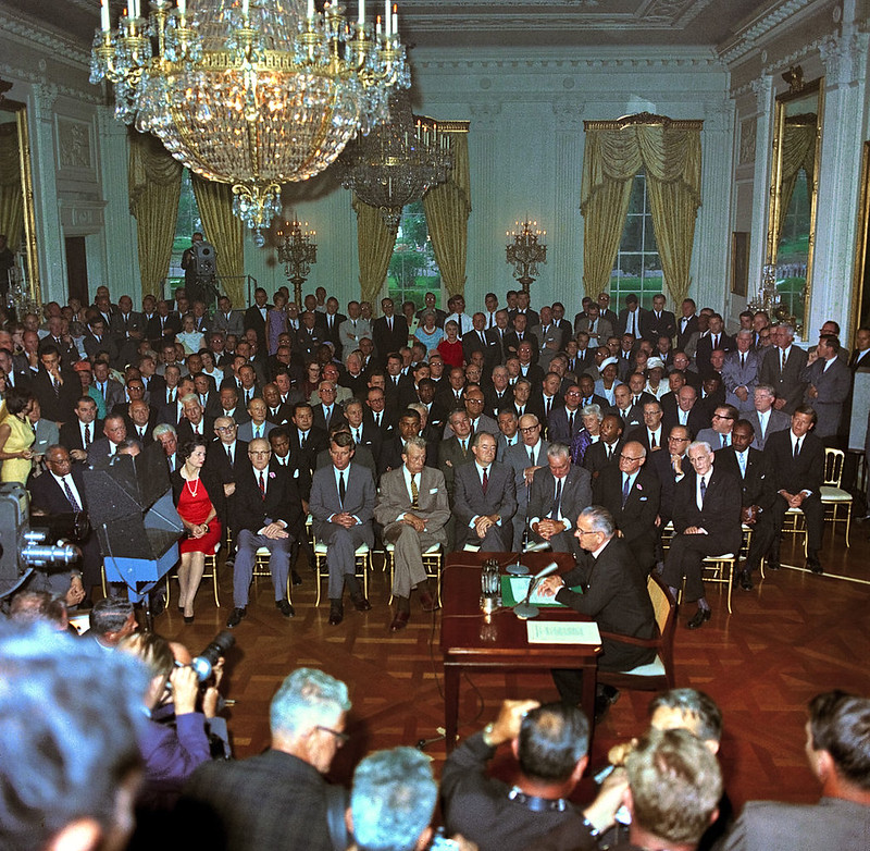 President Lyndon B. Johnson at the signing the 1964 Civil Rights Act in White House East Room
