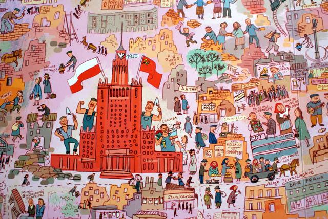 Varsovie pendant la reconstruction dans les années 50.