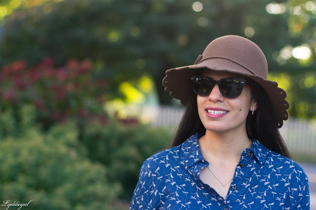 dragonfly print shirt dress, brown tote, scalloped brim hat-4.jpg