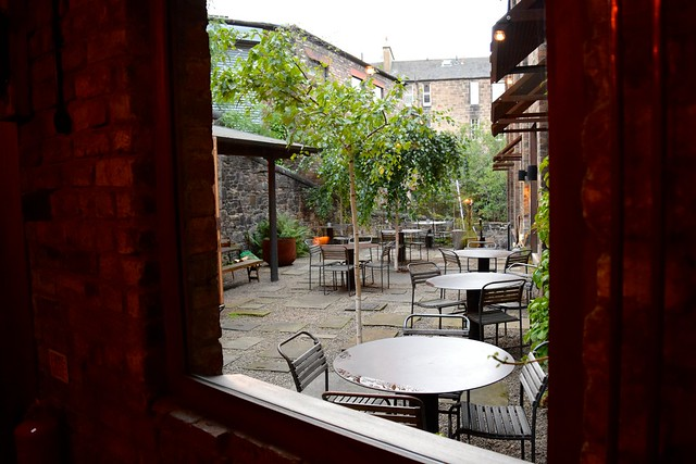 Looking out on the courtyard at Timberyard, Edinburgh