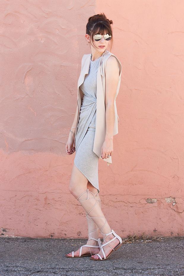 Lace Up Sandals, Asymmetrical Dress, Asymmetrical Vest, Neutral Outfit