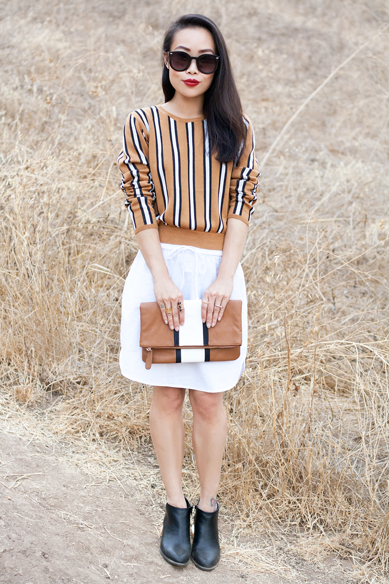06-stripes-sweater-clutch-cutout-booties-sf-fashion-style