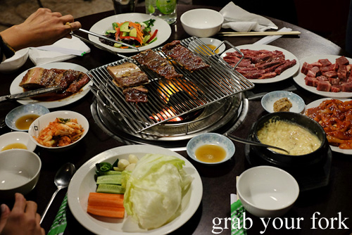 Korean barbecue dishes at Jang Tur Charcoal BBQ Restaurant, Canterbury