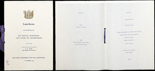 Menu for Duke of Edinburgh, Christchurch Town Hall (October 1973)