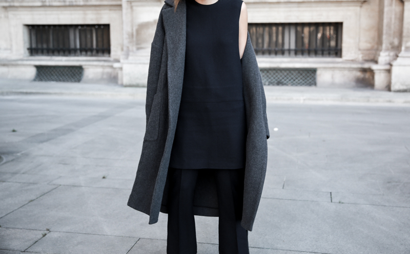 MATCHES x MODERN LEGACY RAEY new season layers Paris fashion week street style mini dress over pants navy (1 of 1)
