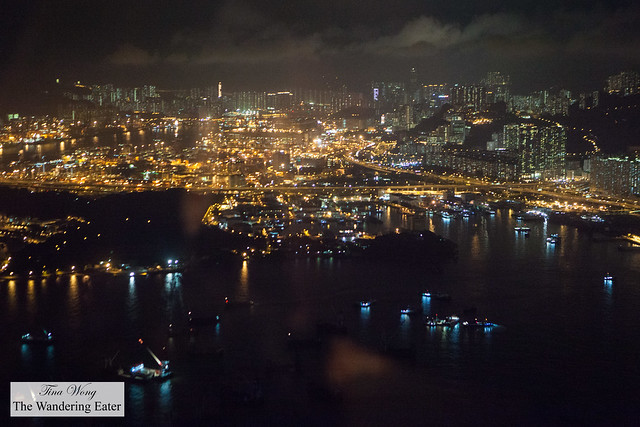 Night view of Hong Kong from my seat
