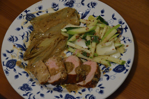 Roast Pork & Braised Endive with Green Apple & Endive Salad
