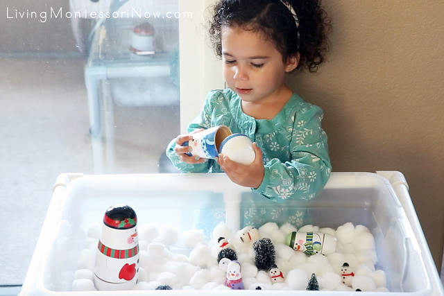 Developing Fine Motor Skills with Nesting Snowmen
