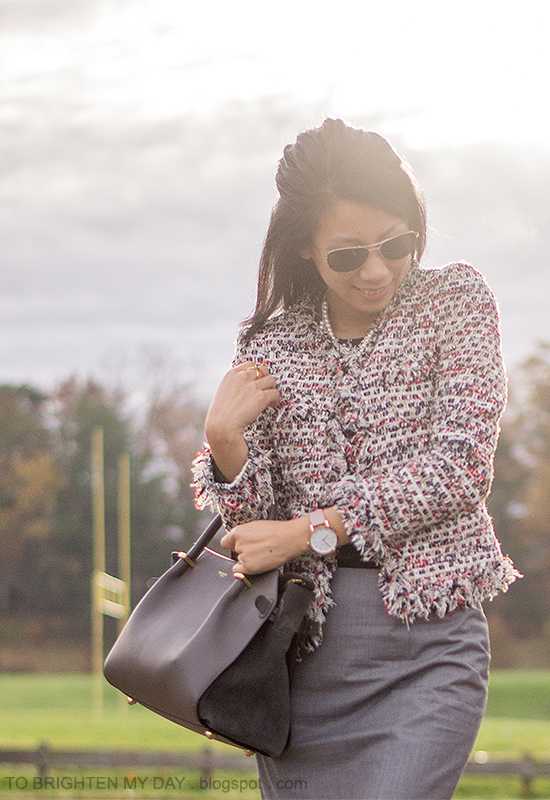 tweed jacket, mixed metal necklace, oversized watch, gray pencil skirt