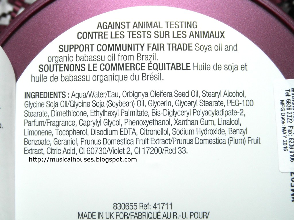 The Body Shop Frosted Plum Body Butter Ingredients