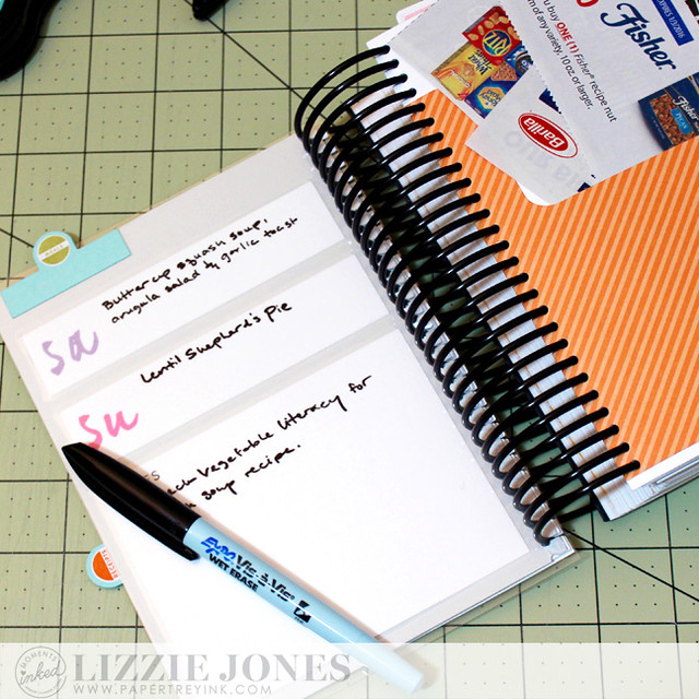 Meal Planning Page and Coupon Pocket