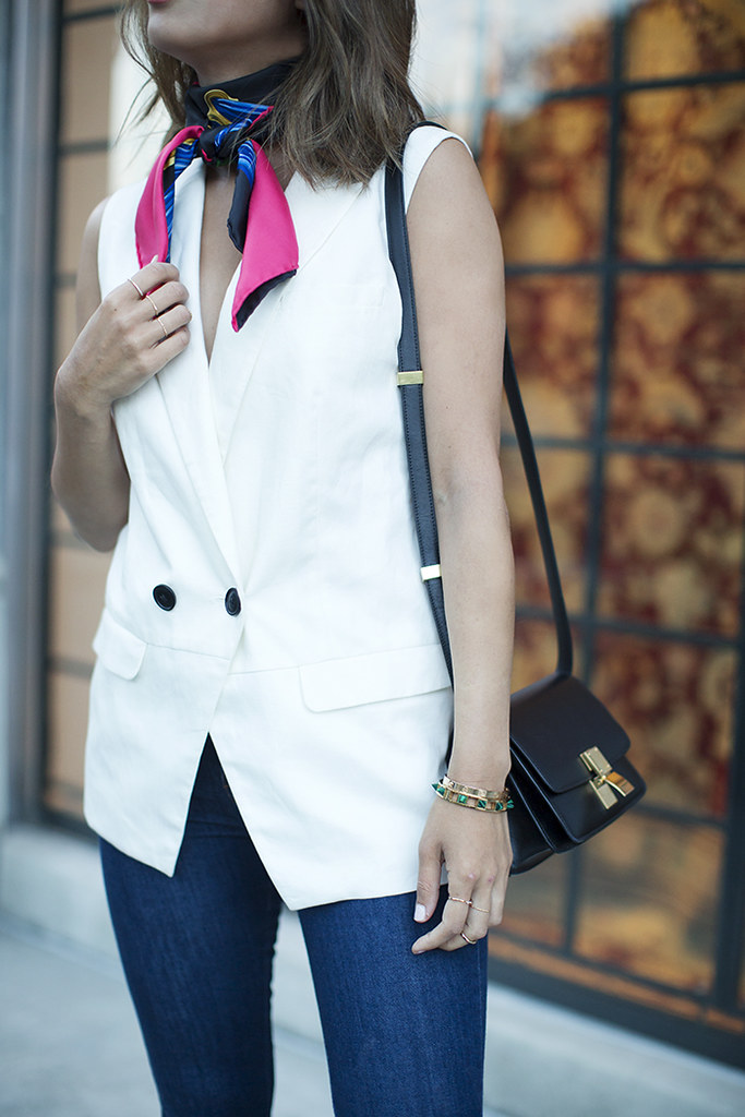 aimee_song_of_style_hermes_scarf_sleeveless_blazer_celine_mini_classic_bag1 (1)