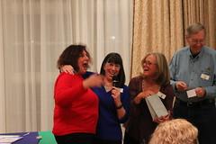 Barbra winning a prize. Maud Ann Wilson, Barbara Bucklin, Joe Beene. Photo by George Reiske.