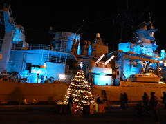 2016 Los Angeles Harbor Holiday Afloat boat parade, as seen from the USS Iowa in San Pedro