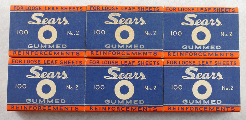 RD14969 6 Boxes of Vintage Sears Gummed Reinforcements 100 No. 2 For Loose Leaf Sheets DSC06759