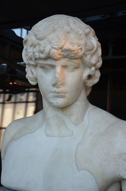 Part of a statue of Antinous depicted as Apollo, 130-138 AD, from the Via dei Fori Imperiali Rome Centrale Montemartini, Rome