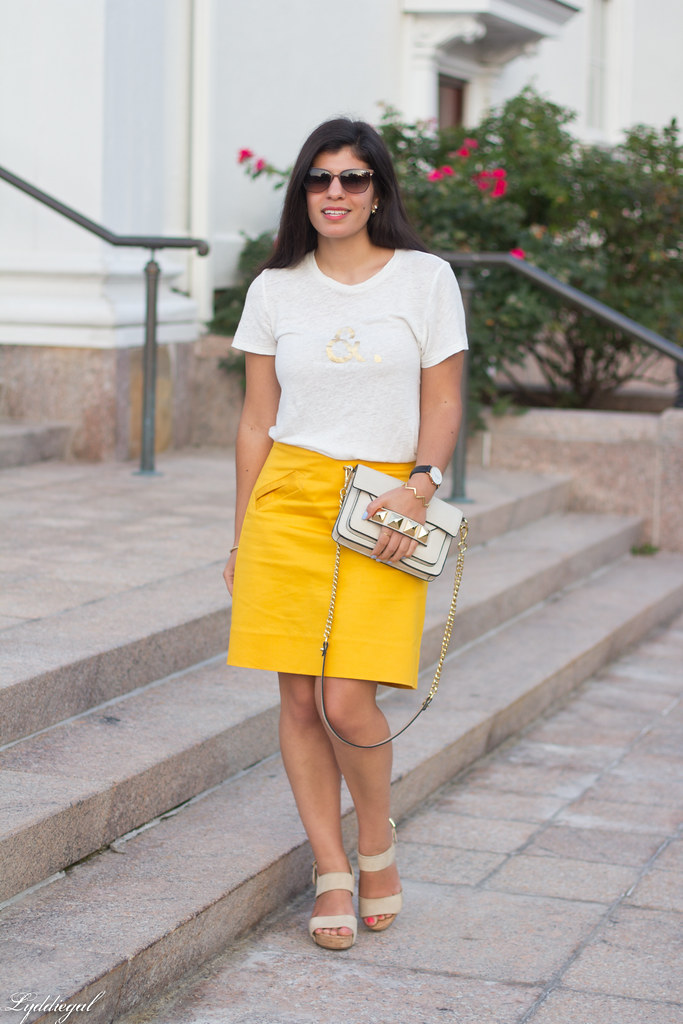 ampersand tee, yellow pencil skirt, studded bag-2.jpg