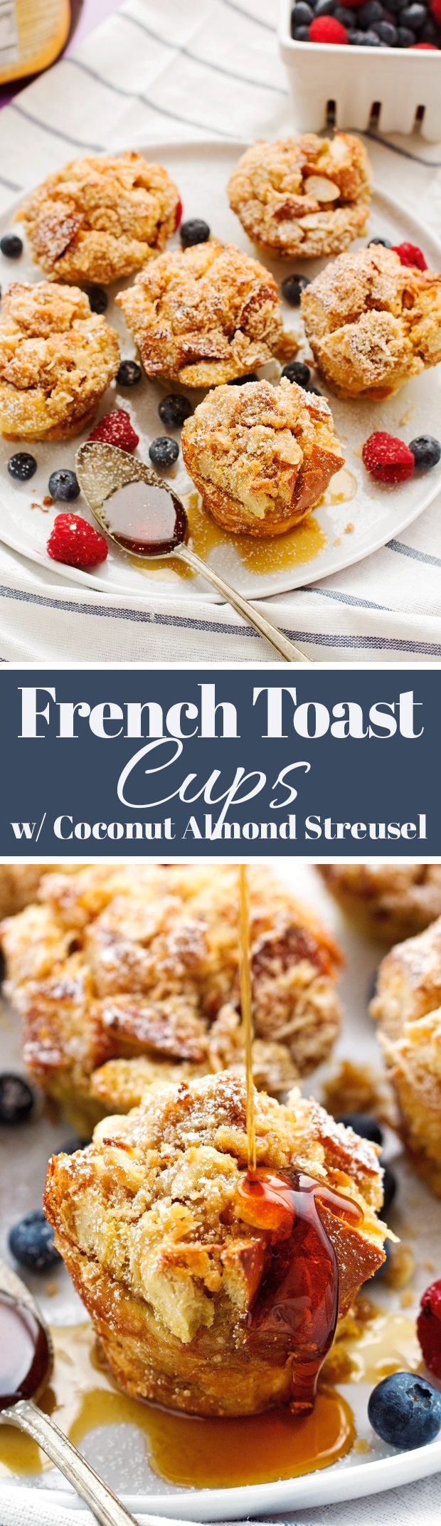 French Toast Cups with Coconut Almond Streusel - Personalized so they're fun to make and even more fun to eat! #frenchtoast #frenchtoastcups #frenchtoastbites | Littlespicejar.com