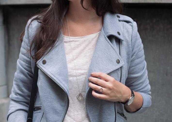 outfit: grey biker jacket, lobogato necklace