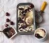 Roasted cherries with dark chocolate stracciatella vanilla bean ice cream