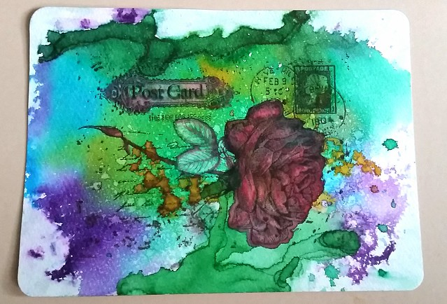 Mail art with diamine shimmertastic inks and Maruman water color sketchbook