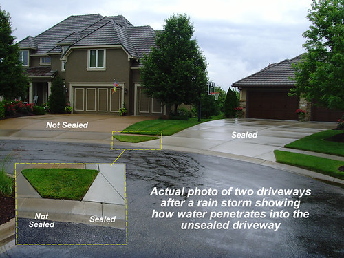 Concrete Sealing - Sealed vs Unsealed Driveway Dayton Ohio