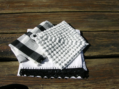 black & white woven tea towel, crochet bobble and border