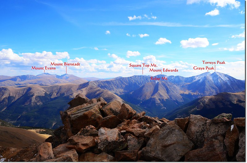 Looking southeast from Parnassus' summit, Evans, Bierstadt, Grays & Torreys in the distance 2