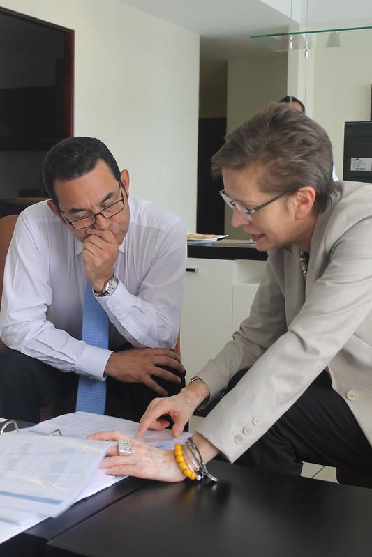 ONU, Jimmy Morales y equipo de transición del presidente electo en Guatemala