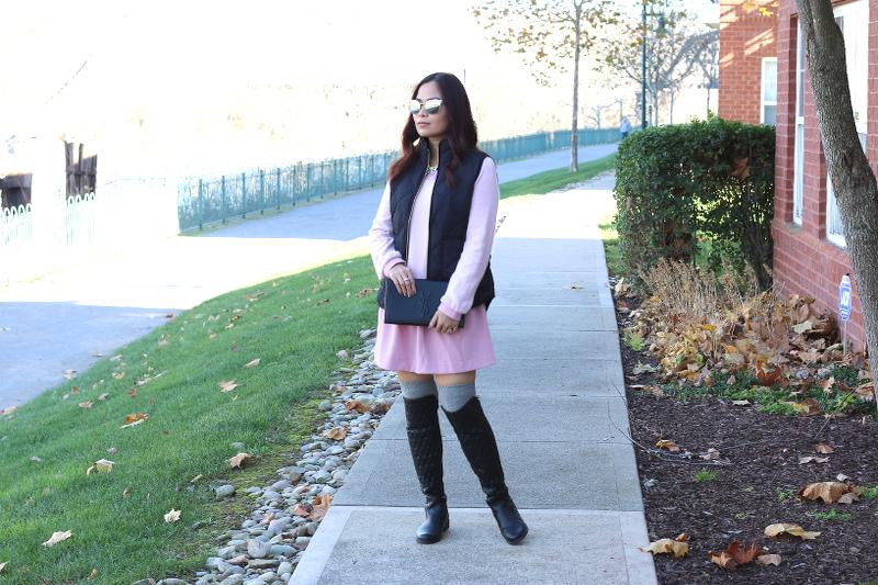 lattori-pink-dress-black-puffer-vest-4